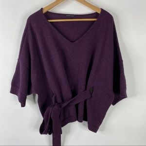 Eileen Fisher Sweater Belted Dolman Boxy Merino
